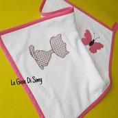 Asciugamano per bambina in spugna di cotone con farfalla e gattino