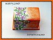 scatolina portagioie in legno dipinta a mano arancione - fiori di primavera