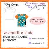 cartamodello t shirt versione baby da 1/3 mesi a 24 mesi
