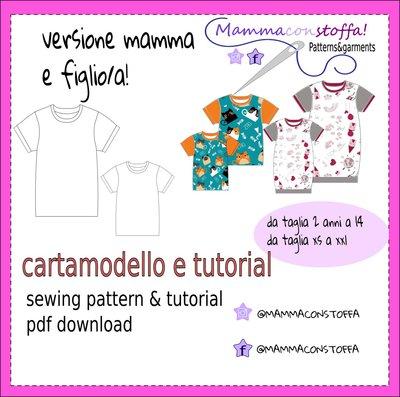 CARTAMODELLO T SHIRT MAMMA&FIGLIA/O TAGLIA XS -XXL  E 2 ANNI A 14 ANNI