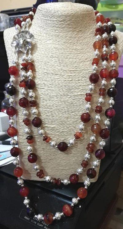 Collana 3 giri  Agata rossa e pietra lavica argento