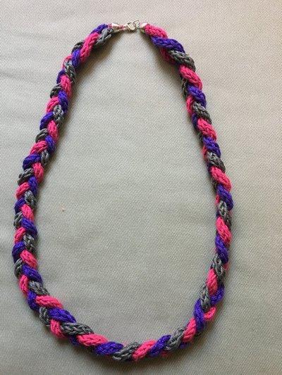 collana  treccia multicolore - tre fili