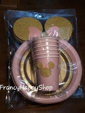 30 pezzi Coordinati compleanno bambina rosa e oro,piatti e bicchieri di carta rosa e oro,festa compleanno minnie coordinati decorazioni tavola