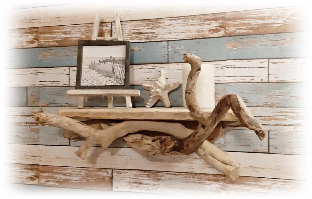 MENSOLA DA PARETE con legni di mare
