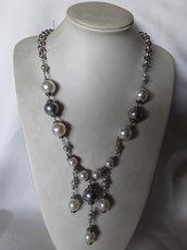 Collana lunga perle bianche e grigie