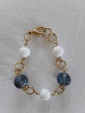 Bracciale dorato perle e cristalli
