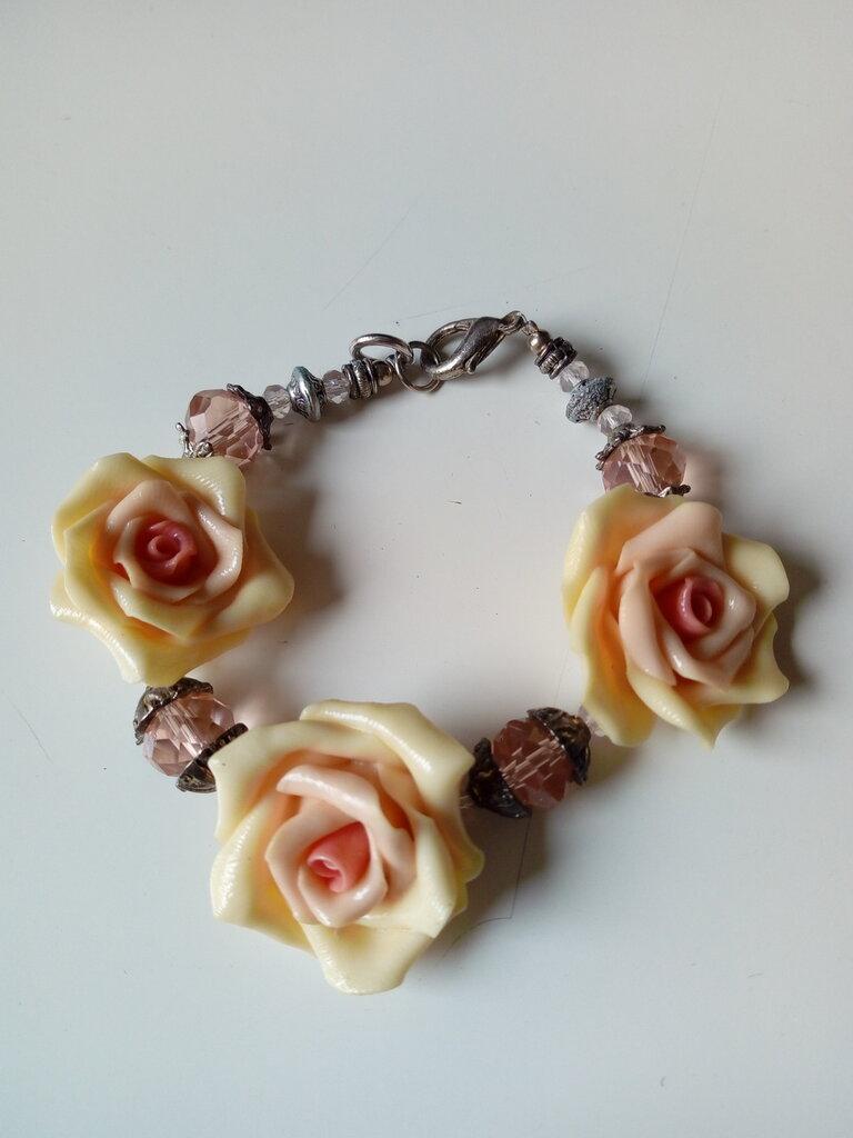 Braccialetto rose metallo