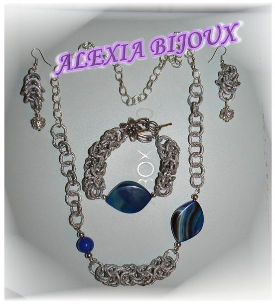 Parure chain-mail blu