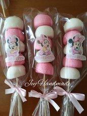 Spiedino marshmallow marshmallows spiedini Minnie topolino bulgari etichetta tag