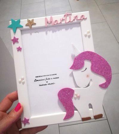 Porta foto cornice Portafoto bimba unicorno in gomma. Glitter PERSONALIZZABILE