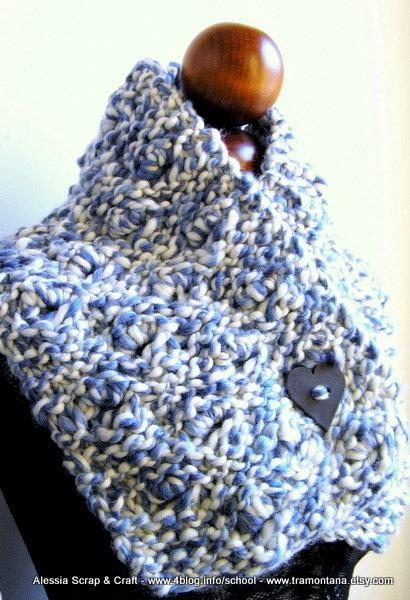 Schema pattern (maglia ai ferri) per Valentine Blue - Scaldacollo di lana grossa -