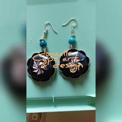 orecchini pendenti girandola fatta a mano con capsule del caffè - linea Gift Five