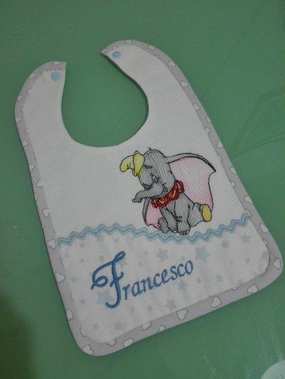 Bavaglino elefante dumbo con nome del bimbo!!