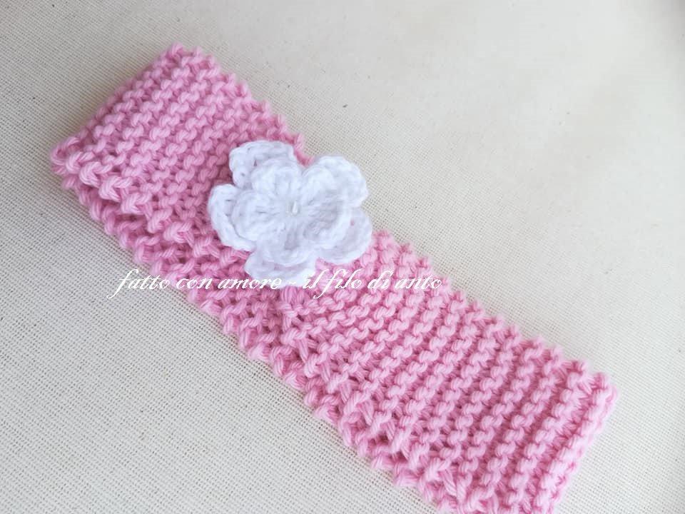 Fascia bambina rosa con fiore  in puro cotone 100% lavorata a mano