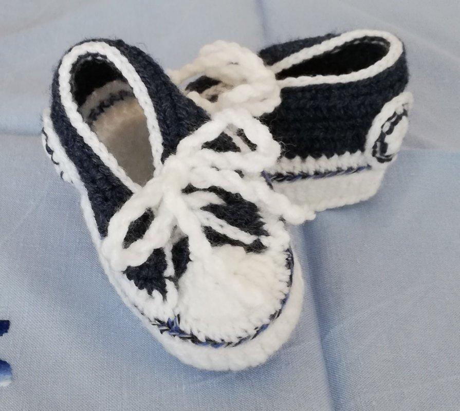 Scarpine neonato in misto lana