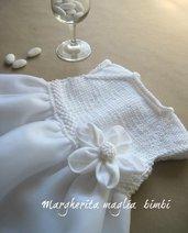 Inserzione riservata per Valentina - abito Battesimo in cotone, lino e tulle bianco