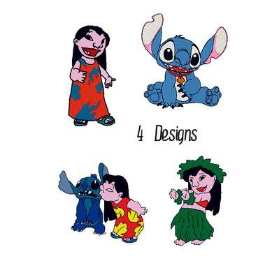 Set 4 design Lilo and Stitch, embroidery design. INSTANT DOWNLOAD