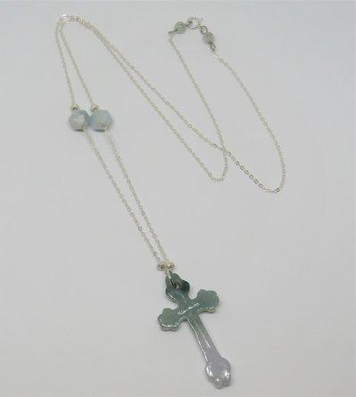 Collana lunga in argento 925 con ciondolo croce in Giada fatta a mano