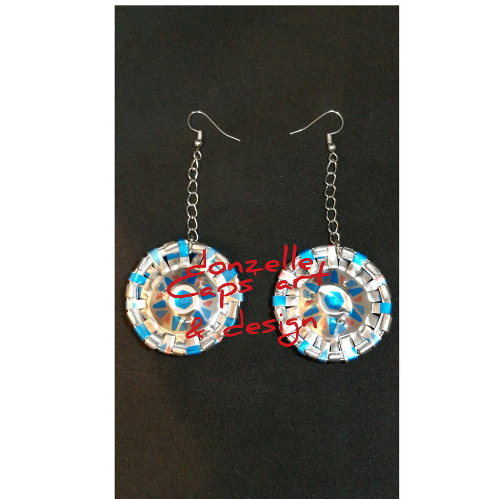 Orecchini pendenti argento e azzurro fatti a mano con capsule del caffè - linea gift eight