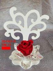 Albero della vita legno con fiore cristallo e rosa eterna