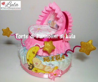 Torta di Pannolini culla carrozzina Pampers Baby Dry + bavaglino personalizzato topolino Minnie idea regalo nasita baby shower battesimo