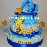 Torta di Pannolini culla carrozzina Pampers Baby Dry + bavaglino personalizzato topolino Minnie idea regalo nascita baby shower battesimo