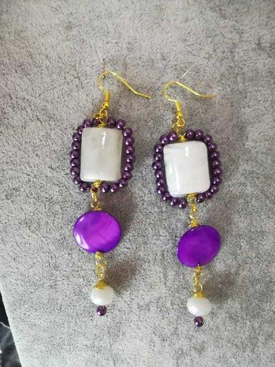 Orecchini Pendenti Vetro di murano Perle viola madreperla Colore Oro Fatti a mano