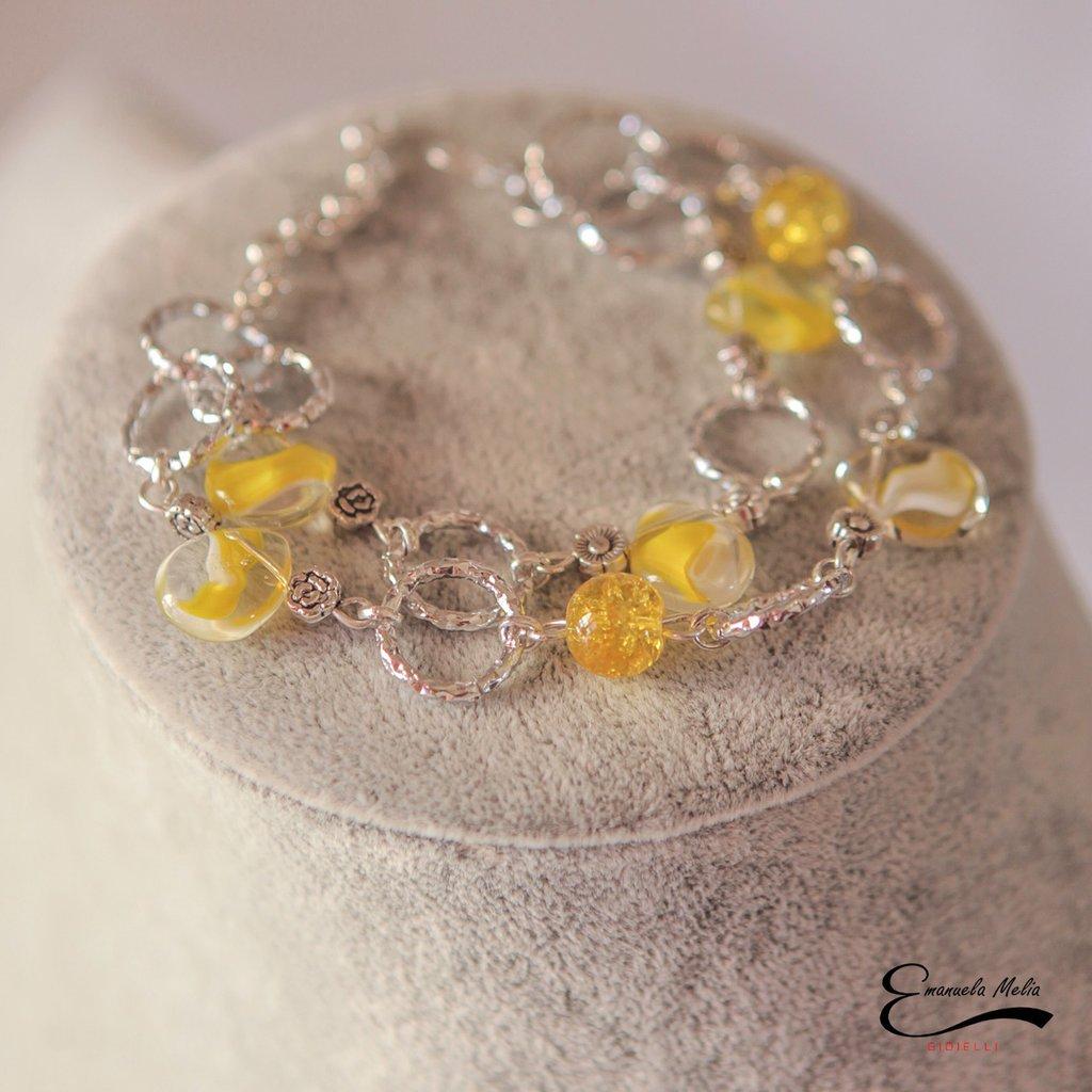 Bracciale donna giallo in vetro e catena in alluminio diamantato colore argento