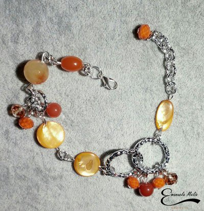 Bracciale Agata Madre perla cristalli Arancione alluminio diamantato