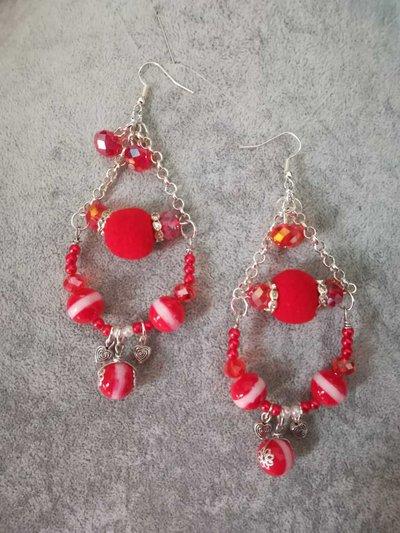 Orecchini donna pendenti rosso e bianco pietre argento tibetano