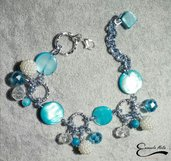 Bracciale regolabile Madre perla azzurra cristalli azzurri alluminio diamantato