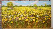 Dipinto quadro ad olio su tela materico   cm. 135 x 75