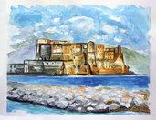 Acquerello Napoli castel dell'ovo mare marina dipinto a mano