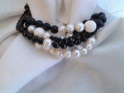 Bracciale perle onice agata bianca argento