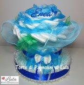 Torta di Pannolini Pampers baby dry bouquet FIORI mazzo rosa idea regalo nascita battesimo baby shower