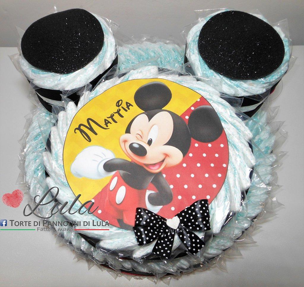 Torta di pannolini Pampers MINNIE TOPOLINO idea regalo nascita battesimo baby shower