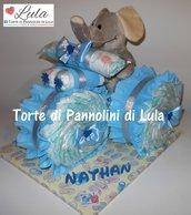 Torta di Pannolini Pampers triciclo peluche idea regalo nascita battesimo baby shower