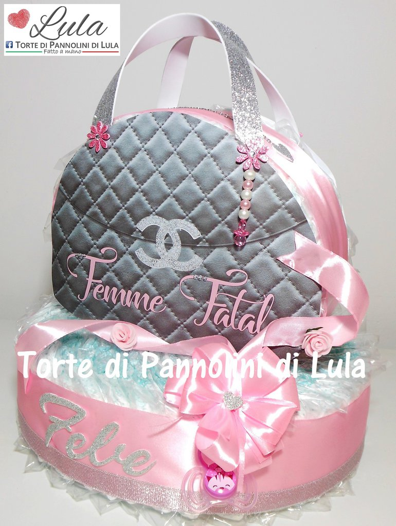 Torta di Pannolini femmina Borsa Borsetta Pochette Pampers Baby Dry idea regalo nascita battesimo baby shower