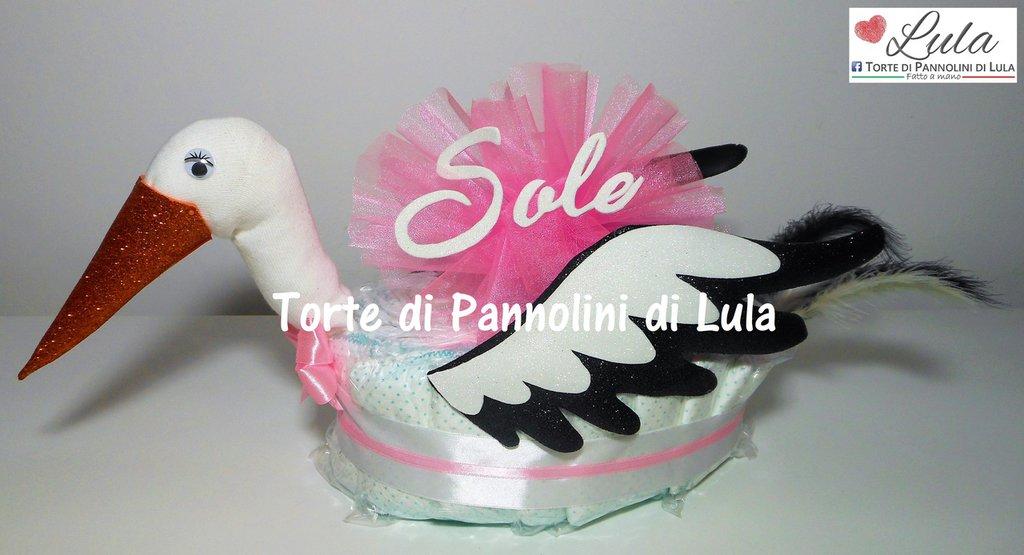Torta di Pannolini CICOGNA Pampers idea regalo utile baby shower nascita battesimo annunciare gravidanza originale