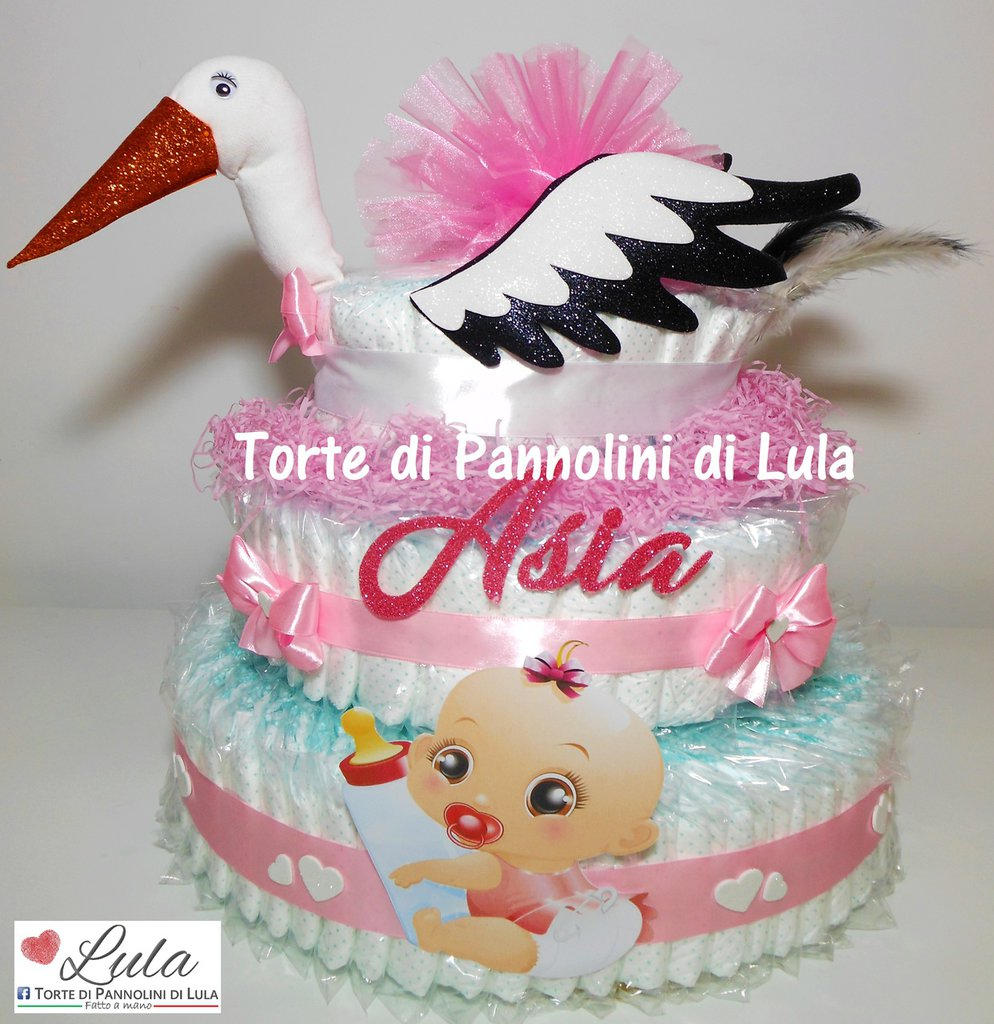 Torta di Pannolini CICOGNA Pampers idea regalo utile baby shower nascita battesimo annunciare gravidanza originale