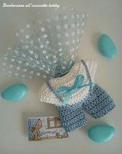 Bomboniera portaconfetti nascita, Battesimo, primo compleanno bimbo tutina con bretelle uncinetto.