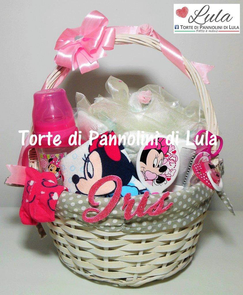 Torta di pannolini / Cesto nascita con regalini Minnie idea regalo nascita battesimo baby shower neomamma