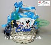 Torta di pannolini / Cesto nascita con regalini Topolino idea regalo nascita battesimo baby shower neomamma