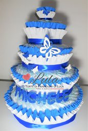 Torta di Pannolini Pampers Baby Dry + farfalla e nome 3D idea regalo nascita battesimo baby shower