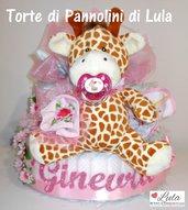 Torta di Pannolini Pampers Baby Dry + Giraffa idea regalo nascita battesimo baby shower gravidanza fiori