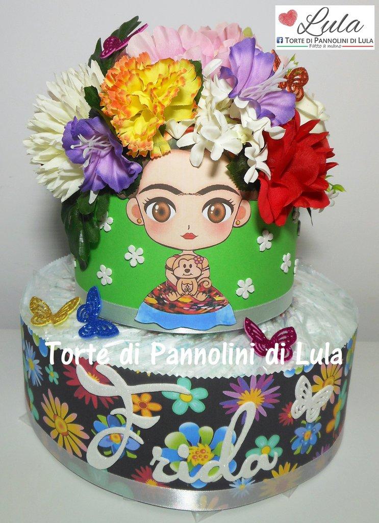 Torta di Pannolini Pampers Baby Dry Frida Kahlo idea regalo nascita battesimo baby shower gravidanza fiori
