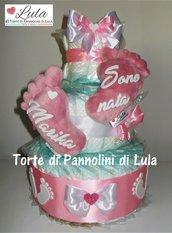 Torta di Pannolini Pampers Baby Dry Piedini impronte idea regalo nascita battesimo baby shower gravidanza fiori