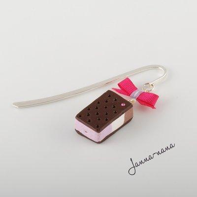 Segnalibro gelato biscotto con cristallo Swarovski