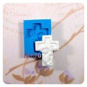 Stampo in silicone Prima Comunione Croce 3,8x2,9cm bambino originale artigianale Artitú per bomboniere gesso ceramico