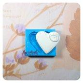 Stampo in silicone Cuore piedini bebè artigianale 3,3x3,5cm Battesimo nascita bomboniere per gesso ceramico paste modellabili
